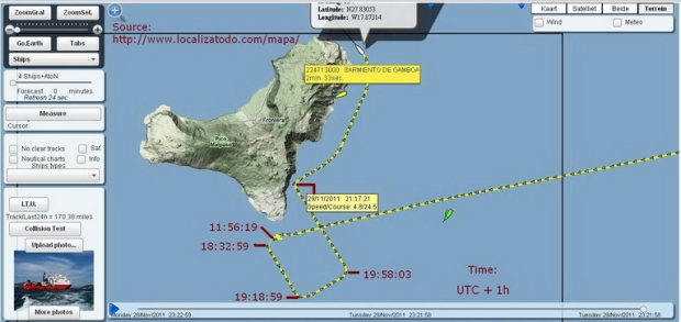 Course of the Sarmiento de Gamboa  29.11.2011