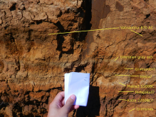 FIGURE 1, Below the 870 settlement ash layer, there is one unknown grey and well visible band. There is also a possible eruption of Grimsvotn and Hekla, and then we find the major Hekla 3 band. Below that, we find a thick dark band, probably from Katla, around 2200 BC, and before that we probably have the ash from the Grimsnes eruptions (dating 3500 BC). Photograph by Irpsit, all rights belonging to him, used by permission.