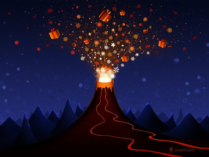 Image found on http://vladstudio.deviantart.com/art/Christmas-Volcano-71577568