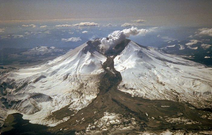 Image Wikimedia Commons. Mount St. Helens erupted often between 1980 and 1986. An explosive eruption on March 19, 1982, sent pumice and ash 9 miles (14 kilometers) into the air, and resulted in a lahar (the dark deposit on the snow) flowing from the crater into the North Fork Toutle River valley. Part of the lahar entered Spirit Lake (lower left corner) but most of the flow went west down the Toutle River, eventually reaching the Cowlitz River, 50 miles (80 kilometers) downstream.
