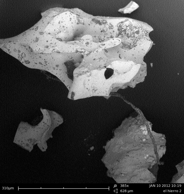 Sample of a Restignolita found at El Hierro in the SEM. Image done by author.