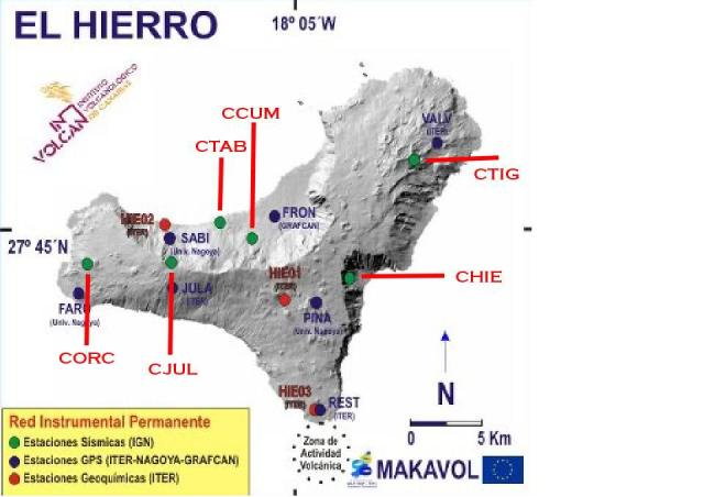Map of the stations at El Hierro