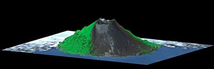 Perspective of Mount Oyama Volcano, Miyake-Jima Island, Japan. (ASTER-SRTM) 10 August 2000 http://photojournal.jpl.nasa.gov/catalog/PIA02771 NASA/JPL