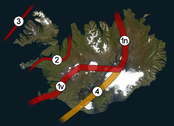 Wikimedia Commons: Present and former rift zones of Iceland. 1v: Western Rift Zone (WRZ); 1n: Northern Rift Zone (NRZ); 2: former Snæfellsnes-Skagi Rift Zone (SRZ); 3: former Westfjords Rift Zone (WRZ); 4: Eastern Volcanic Zone (EVZ) - most likely a future rift zone.