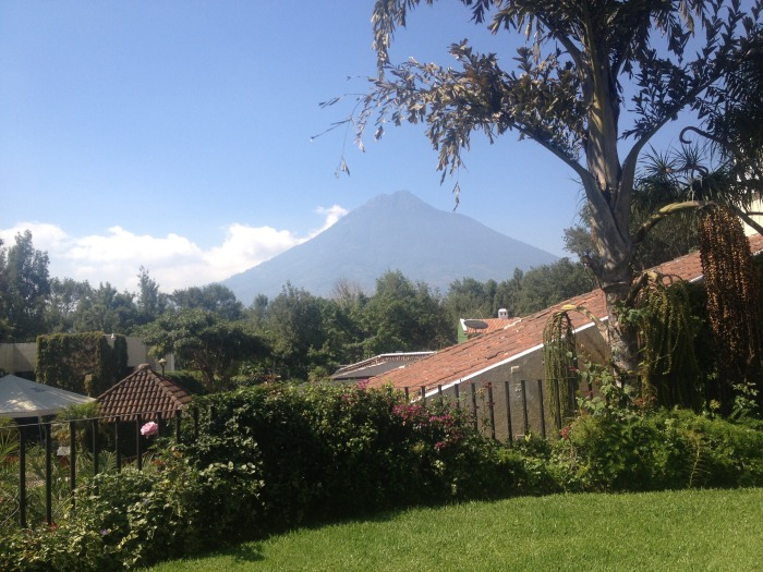 Photograph taken by Dr Carmen Morataya for Volcano Café. There are definitly worse places for a morning cup of coffee. Photograph taken from the Hotell Garden towards Agua.