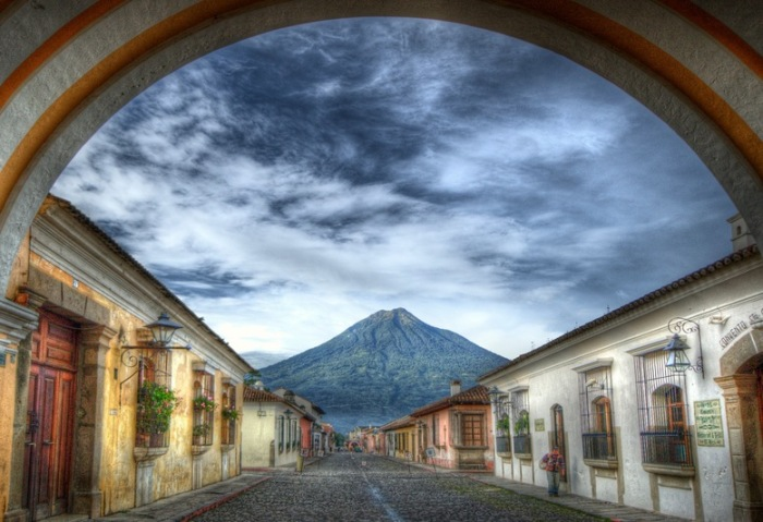 Award-winning photograph taken by Jean-Marie Hullot from Ciudad Vieja with the Volcan de Agua in the center.
