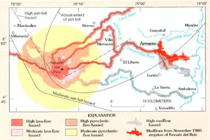 Nevado del Ruiz hazard map, from Wright and Pierson