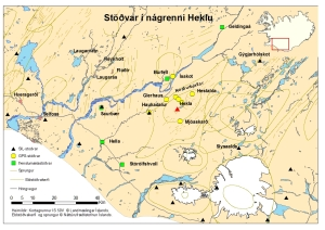 Location of the SIL and GPS stations and borehole strainmeters.  Image courtesy of IMO http://hraun.vedur.is/ja/hekla/Stadsetning_stodva_31052011.jpg