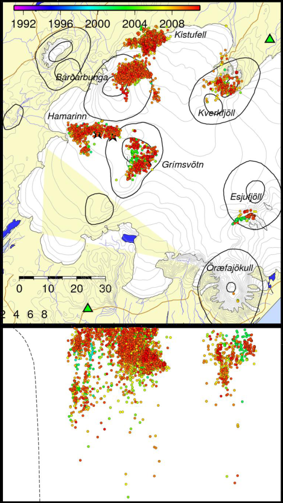 Image from the Icelandic Met Office, created by Kristín S. Vogfjörd. Showing selected earthquakes.