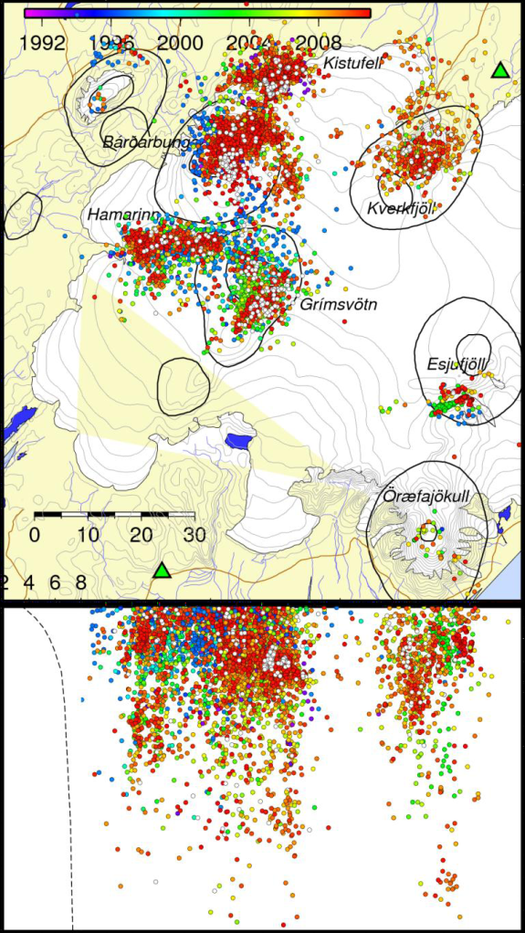 Image from Icelandic Met Office created by Krisín S. Vogfjörd. All earthquakes 1992 to the 2011 Grimsvötn eruption.