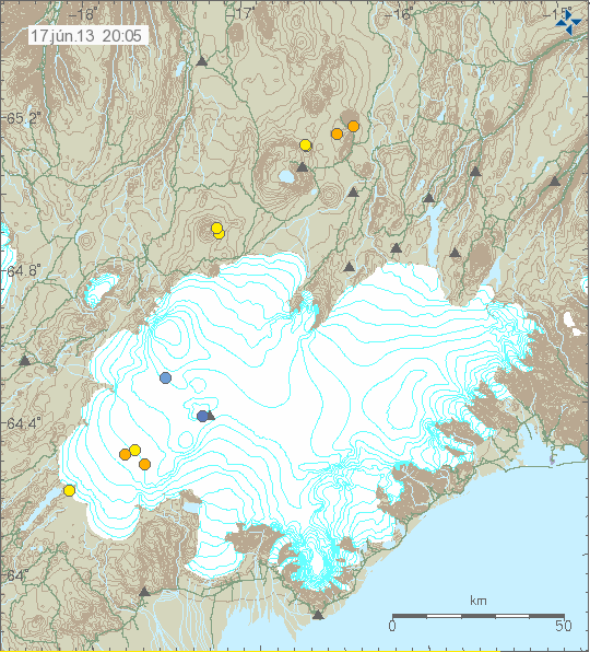 The two earthquakes just north of Vatnajökull are at Trölladyngja and the four southernmost are running from the northern point of Vatnaöldur up along the Bárdarbunga fissure swarm.