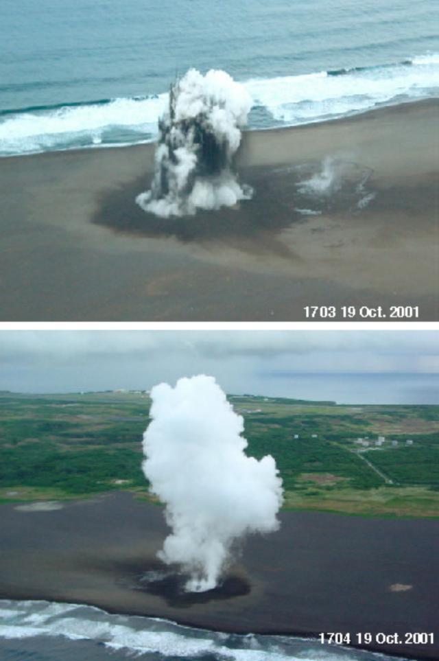 Classical phreatic detonations photographed at Iwo Jima.