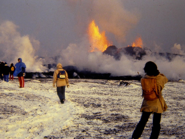 Photograph by Mavur. This image from the 1981 fissure eruption of Krafla shows how ludicrous it is to compare. The scientists on the image was caught unawares as a fissures opened up. If that had happened during an opening of a Skaftár Fire fissure opening they would have instantly pulverized by the explosive force.