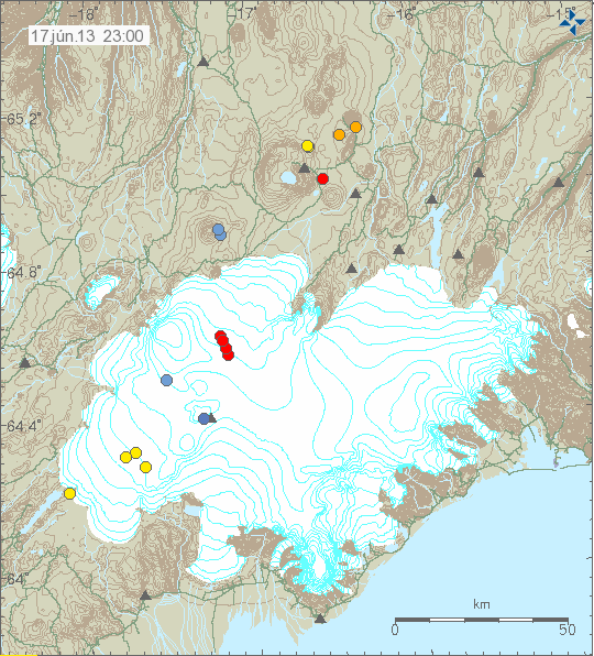 Image by the Icelandic Met Office. Lineament showing as red dots in line.