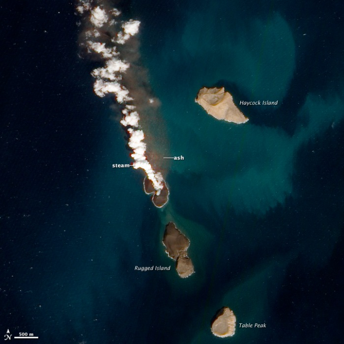 Image by NASA showing the eruption of a new island. The image is from seventh of January 2012, 8 days before the eruption ended.