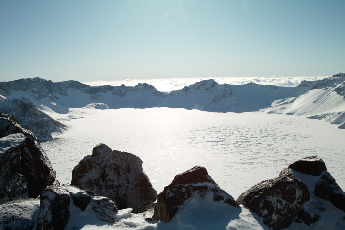Photograph by Farm, Wikimedia Commons. Baekdu Caldera during the winter.