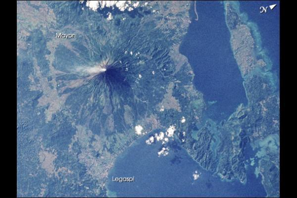 Photograph by NASA. The almost perfect shape of Mayon. With Legaspi marked.