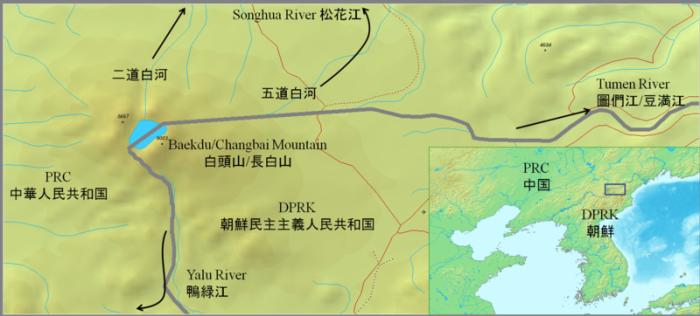On this map it is easy to see that the Baekdu is situated on the ancient point where Korea slammed into China. There are several more ancient calderas along the border.