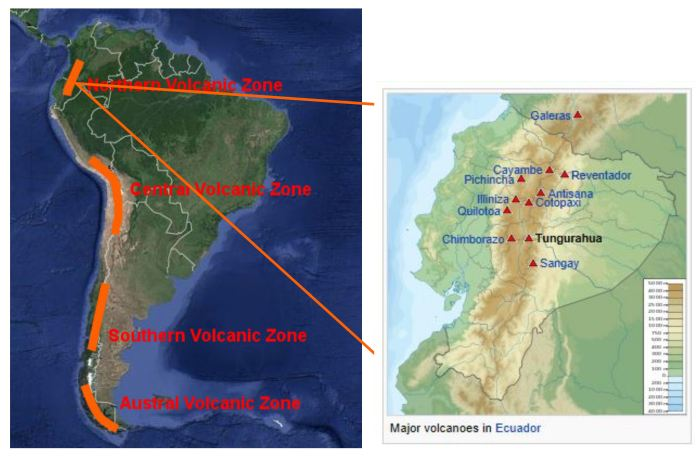 Image 4:  Andean Volcanic Belt.  Map from Google Maps, text added by the author, based on a map by Chiton Magnificus [5] & Major volcanoes in Ecuador from Wikipedia [6]