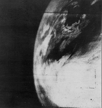 The very first image of earth from space, recorded by the TIROS-1 satellite on 1 April 1960. (NASA)