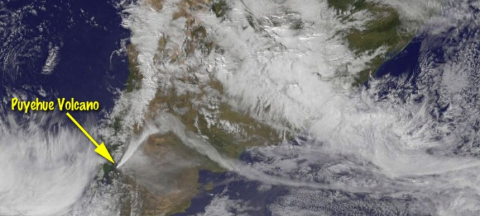 This GOES-13 image captures the ash plume from Puyehe Cordón-Calle on 6 June 2011. Note how the plume changes direction as it meets a weather system. (NOAA)