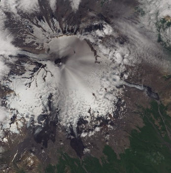 Smoke and ash can be seen in this OLI image of the recent activity at Veniamonof volcano in Alaska, 25 July 2013. (USGS)