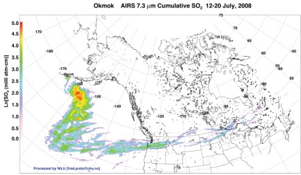 The AIRS sensor aboard Aqua traced sulfur dioxide emissions from Okmok in July 2008. (NASA)