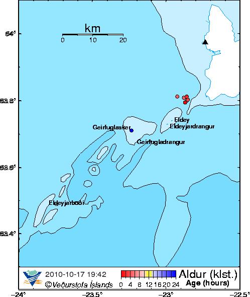 Map showing Reykjanes, Eldey, Geirfuglasker and Eldeyarbodi volcanoes. Image by Icelandic Met Office.