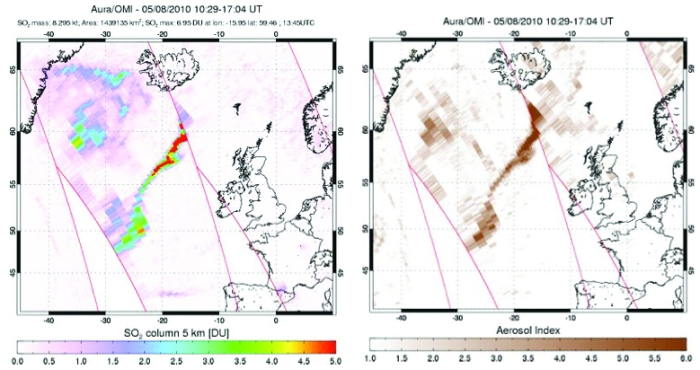 The OMI instrument on Aura can trace both sulfur dioxide (left) and aerosols (right) in the atmosphere. This was the tracks of both on 8 May 2010 during the Eyjafjallajökull eruption. (NASA)