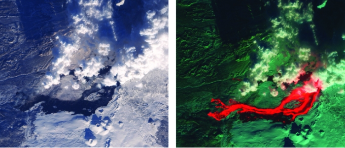 Recorded by the ALI sensor aboard the EO-1 satellite, this view shows Tolbachik on 5 April 2013. The two frames show the same scene but in different spectral bands. The left-hand shows the scene in visible light, whereas the right-hand image shows the infrared thermal image. (NASA)
