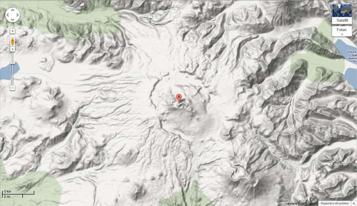 Map from Google Maps showing the size of both volcano and caldera.