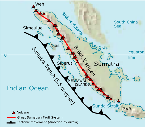 Map of geological formation of Sumatra island and volcanoes (Wikimedia Commons)
