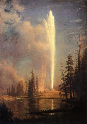 Old Faithfull in Yellowstone National Park painted by Albert Bierstadt in 1881. Wikimedia Commons.