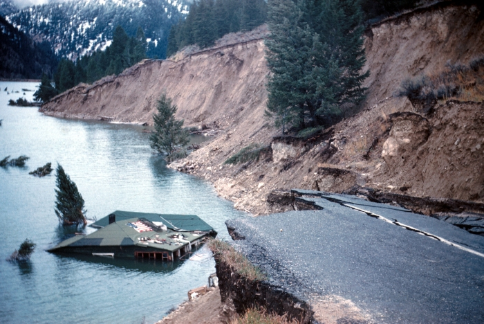 Aftermath of the 1959 Hebgen Lake M7.4 Earthquake. Image from Wikimedia Commons.
