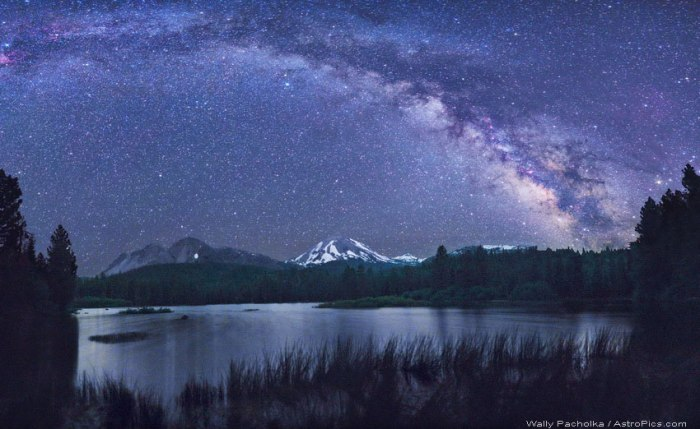 Fig 1. The Milky Way over Lake Manzanita with the Chaos Crags, Lassen Peak and Brokeoff Mountain in the background (Wally Pacholka, astropics.org)