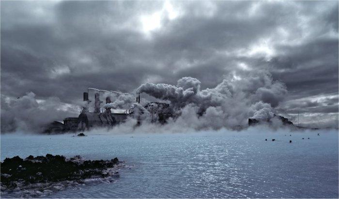 Picture taken over the Blue Lagoon towards the Svartsengi Powerplant. On the other side is the Svartsengi volcano.