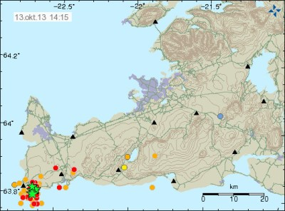 Image by Icelandic Met Office. Earthquake swarm, Green stars are larger than M3, one of them is the M4.8 earthquake.