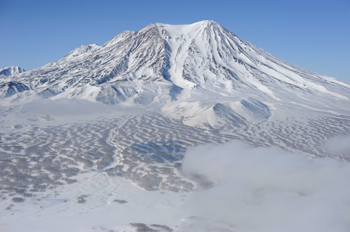 The large Zhupanovsky volcanic complex.