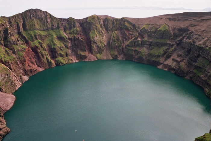 Kasatochi Island volcano crater lake, 14 Aug 2004. Photograph by Drummond, Brie/US Fish and Wildlife Service.