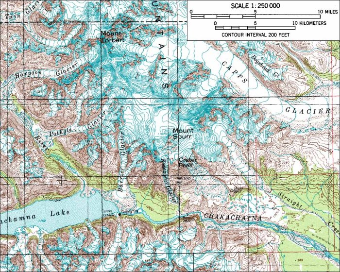 Topographic map of Mount Spurr (1:250,000 scale) from USGS Tyonek
