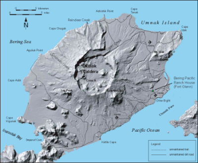 Map of Umnak Island, showing Okmok volcano. Credit: Jessica Larsen, Alaska Volcano Observatory / Alaska Division of Geological & Geophysical Surveys.