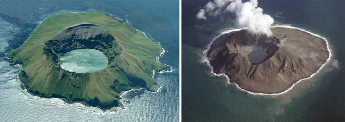 Kasatochi Volcano in July 2008 (left) and then in October of 2008 (right). The volcano erupted August 7, 2008. http://alaska.usgs.gov/science/kasatochi/