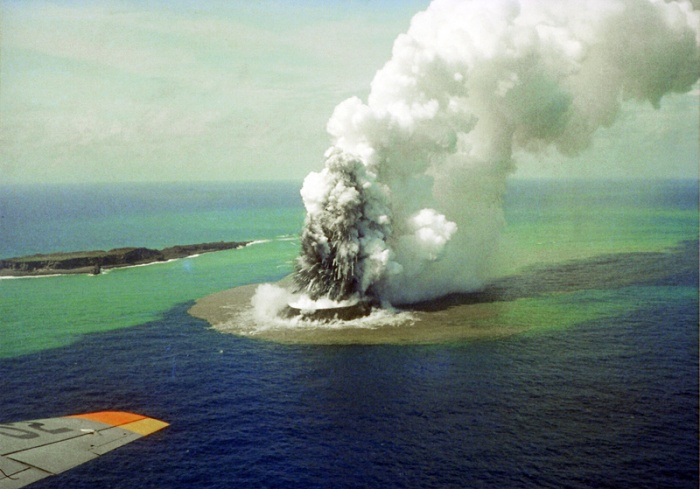 Photograph taken by the Japanese coast guard during the early stages of the 1973-74 eruption.