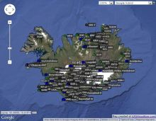 Interactive map of volcano monitoring stations in Iceland.