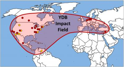Younger Dryas impact field – from Dartmouth paper http://wattsupwiththat.com/2013/05/21/widespread-evidence-of-cosmic-impact-documented-likely-cause-of-the-younger-dryas-cool-climate-episode/