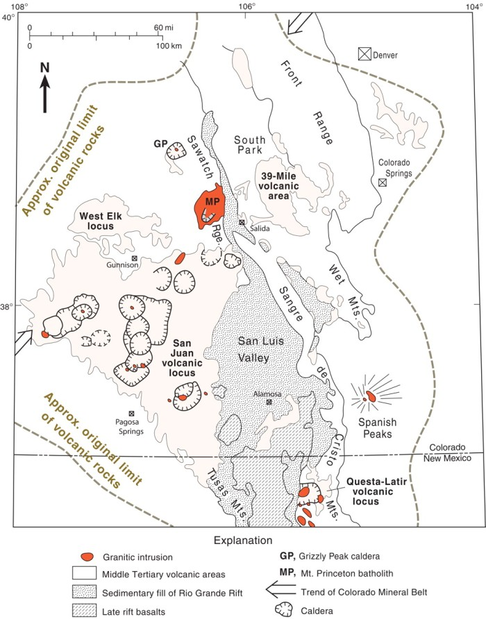 Map of San Juan Volcanic Field from Geological Society of America http://gsabulletin.gsapubs.org/content/120/7-8/771.abstract