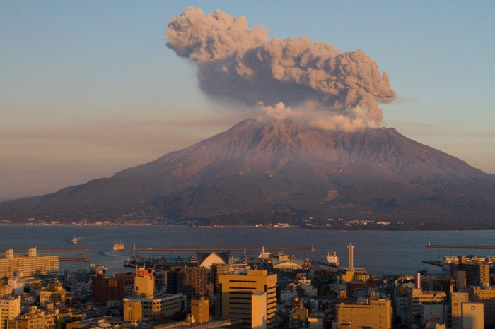 One of the more than one thousand eruptions that take place yearly at Sakurajima that takes place every year.