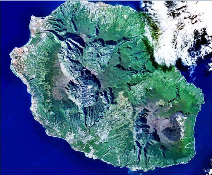 Satellite view of Réunion. Map and Photo source - Wikipedia
