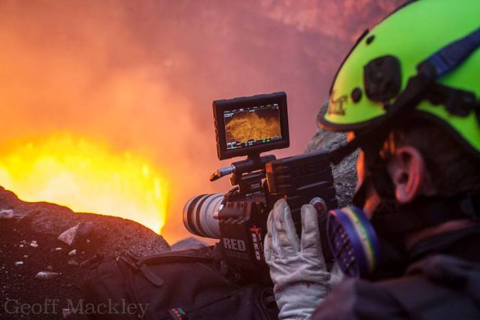 Mike hard at work with the RED Dragon 6K movie camera. Photograph by Geoff Mackley.