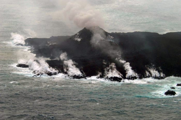 The main cone of Nishinoshima Volcano. Japanese Coast Guard photography.